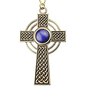Large Celtic Cross with 12mm Lapis Lazuli Gemstone on 18
