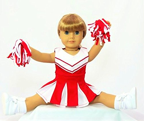 Doll Clothes -Red and White Doll Cheerleader Outfit includes Pom Poms- Fits 18