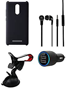 Car Charger Headphone Cover Mobile Holder combo for Redmi Note 3