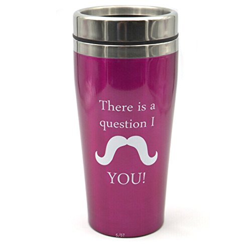Vacuum Cup Thermos Mustache Cup (There Is A Question I M You) Interesting Cup Purple