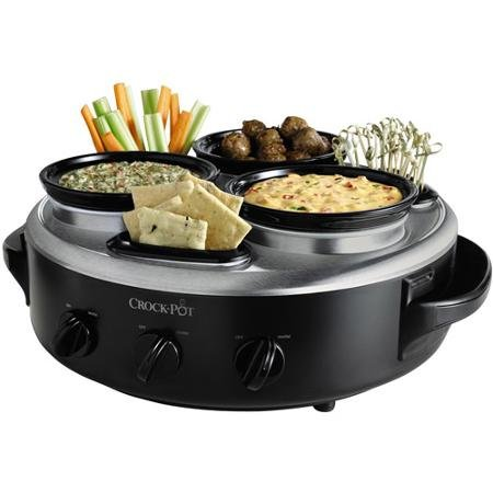 Crock-Pot Triple Dipper with Lazy Susan Food Warmer, Black, Stainless Steel Hybrid Finish, SCRTD300-BS (Crock Pot Restaurant compare prices)