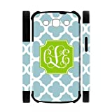 PaleTurquoise Plaid LimeGreen Initials Personalized Monogrammed Samsung Galaxy S3 I9300 Best Durable Rubber+PC Two-In-One White/Black Cover Case Custom Color and Text,New Fashion, Best Gift