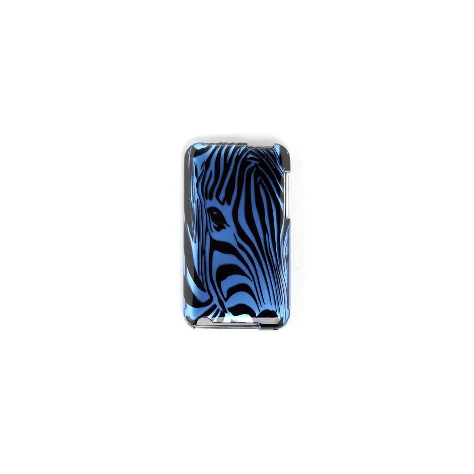 Premium Designer Hard Crystal Snap on Case for Apple iPod Touch 2, 3, 3rd Generation 8GB, 32GB, 64GB   Cool Safari Blue Zebra Full Face Print