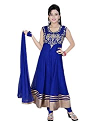 Divinee Blue Net Readymade Anarkali Suit - B0136DKMVY