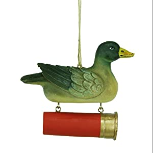 "3.75"" Mallard Duck with Hunting Shotgun Shell Christmas Pendant Ornament"