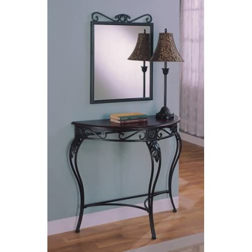 Foyer Table Mirror Sets : Amazon pc cherry black entryway hall table mirror