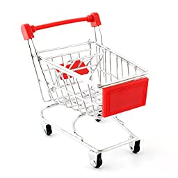 Yunt Lovely Parrot Bird Mini Supermarket Shopping Cart Toy Kids Intelligence Growth Box Funny Toy(Red)