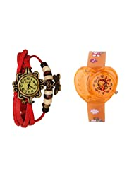 ANALOG KIDS WATCH WITH HELLO KITTY CARTOON PRINTED ON DIAL AND STRAP WITH FREE RED WOMAN BRACELET WATCH - B01BF5IBMW