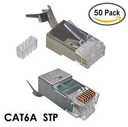 CAT6A STP RJ45 Shielded Modular Plug - 50 Pieces