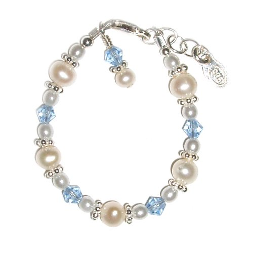 Avery Sterling Silver Childrens Girls Bracelet Childrens freshwater pearls, beautiful blue Czech crystals and sparking silver daisies Size Medium 1-5 Years