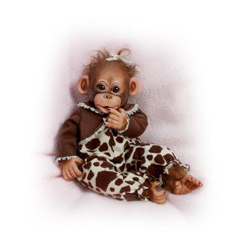 Ashton-Drake Lifelike Baby Chimpanzee Doll with Adoption Certificate: Little Enu - By The Ashton-Drake Galleries