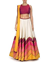 Fabron Multi colored lehenga with pink embroidered blouse and dupatta.