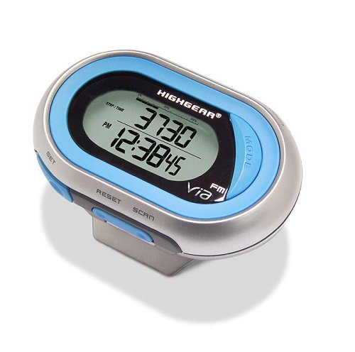 Highgear VIA FM Radio Pedometer with Calorie Counter, Watch, and Chronograph