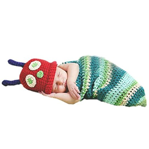CX-Queen Newborn baby Girls Boy caterpillar Knit Crochet Clothes Photo Prop Outfits