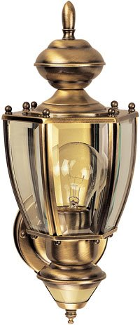Buy Heath Zenith Motion-Activated Six-Sided Coach Light, Antique Brass with Clear Beveled Glass #SL-4160-AB-A