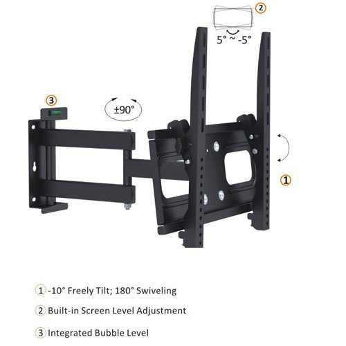 "Cmple - Universal Heavy Duty Swivel Full Motion Wall Mount For Led, 3D Led, Lcd, Plasma Tv'S 26-47""-Black"