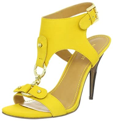 Nine West Women's Bezel Sandal,Yellow Nubuck,5 M US