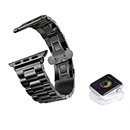 MD Apple 38mm/ 42mm Apple I-Watch/ IWatch Band, I Watch Strap, IWatch Metallic Chain, IWatch Buckle Wrist Band (Space black-42mm adapters)