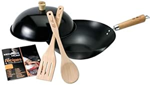 Ken Hom Everyday 31cm Carbon Steel Non-Stick 5 Piece Wok Set with Lid