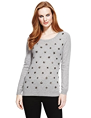 M&S Collection Pure Cashmere Jewel Embellished Jumper