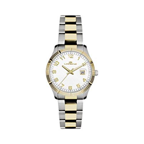 Lorenz 027067AA Reloj de mujer de cuarzo acero chapado en oro amarillo Quandrante correa de acero blanco