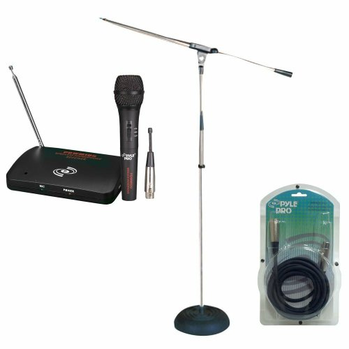 Pyle Mic And Stand Package For The Bar, Studio, Concert, Etc. - Pdwm100 Dual Function Wireless/Wired Microphone System - Pmks9 Heavy Duty Compact Base Boom Microphone Stand - Ppfmxlr15 15Ft. Xlr Male To Xlr Female Microphone Cable