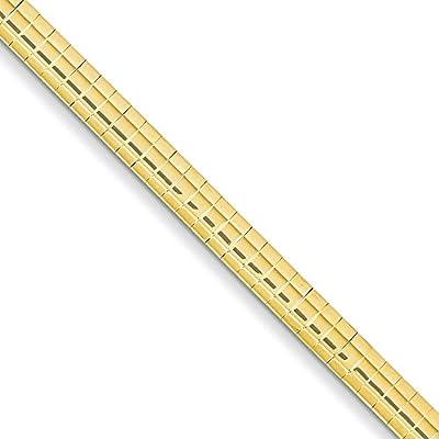 14K Gold 4mm Domed Omega Bracelet 7 Inches
