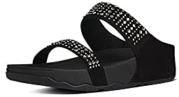 Women\'s Fit Flop, Novy rhinestone Slide Sandals BLACK 7 M