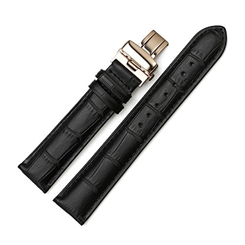 Istrap 20Mm Genuine Calf Leather Padded Deployant Clasp Croco Watch Band - Black 20