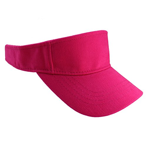 Enimay Sports Tennis Golf Sun Visor Hats Adjustable Velcro Plain Bright Colors Hot Pink