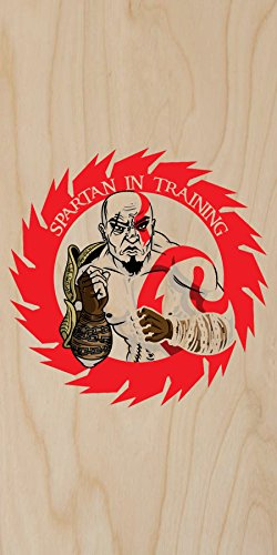 """""""Spartan In Training"""" Cartoon Red Design - Plywood Wood Print Poster Wall Art front-558765"""