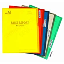 C-Line Heavyweight Polypropylene Project Folders with Index Tabs, 8-1/2 x 11 Inches, 5 each of Red, Blue, Yellow, Green and Smoke, 25 per Box (62140)