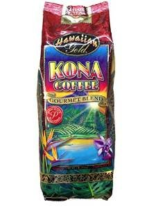 Hawaiian Gold Kona Coffee Gourmet Blend Coffee 1 Lb. Whole Beans -Pack of 2