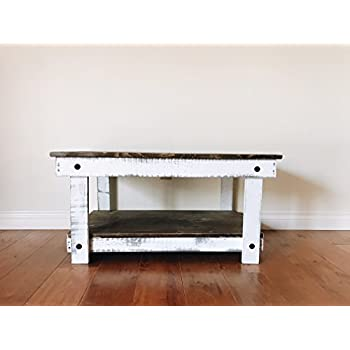 Rustic Handcrafted Reclaimed Square Coffee Table - Self Assembly - Natural & White - 36x24x18
