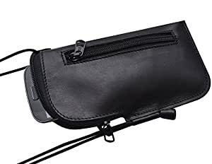 Unique Small Real Genuine Leather Wallet. Pouch Fits Samsung Galaxy S7 Black Cover. Mini Messenger Bag with Zipper and Organizer, Phone Case, Sleeve, Bag