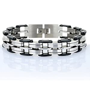Mens Bracelet Links Arrangement In Brushed Gloss Stainless Steel Byclecle Style Links Tough Black Rubber Detail Makes It Look Stunning A Mono Chrome Effect Slim And Slick Bracelet With Substance And Character To Our Collection Its A Gorgeous Masculine Gen