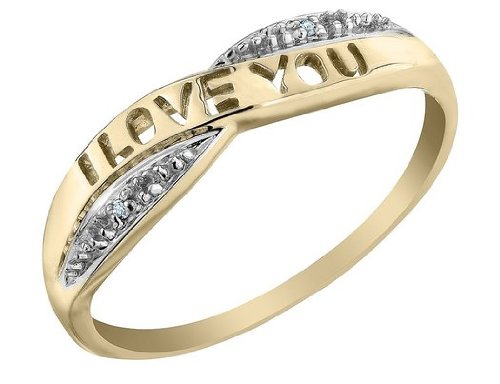I Love You Diamond Promise Ring in 10K Yellow Gold, Size 8