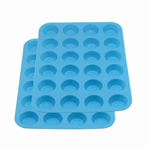 Suntake Mini Muffin Pan, 24 Cups Silicone Baking Tray(2, Blue)