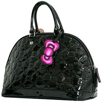 Hello Kitty Black Patent Embossed Large Tote Bag