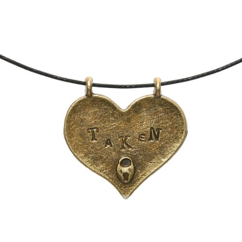 Heart Shaped Pendant Taken Available Pewter Reversible Omega-Type Cord Choker Necklace. Flirty Sweetheart Lover's Necklace