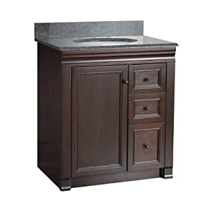 Foremost shea3021dr shawna 30 inch bath vanity with right - Bathroom vanity with drawers on left ...