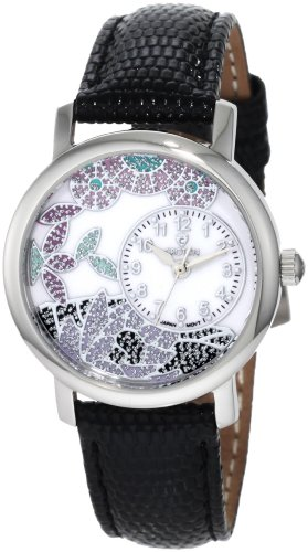 Croton Women's CN207371BSDW Silvertone Floral Design White Dial Watch