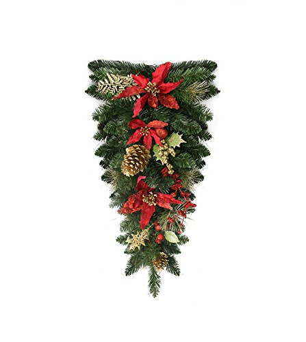 """30"""" Pre-Decorated Red Poinsettia and Gold Pine Cone Artificial Christmas Teardrop Swag - Unlit"""