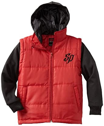 Southpole Big Boys' Twofer Padded Vest with Long Sleeve Fleece Hoody, Red, Large