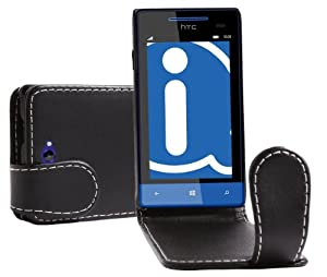 iTALKonline BLACK FlipMatic Easy Clip On Vertical Flip Pouch Case Cover with Holder for HTC Windows Phone 8S
