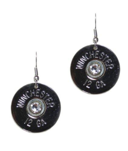 Lizzy J'S Sterling Silver 12 Gauge Shotgun Bullet Shell Dangle Earrings With Clear Swarovski Crystal