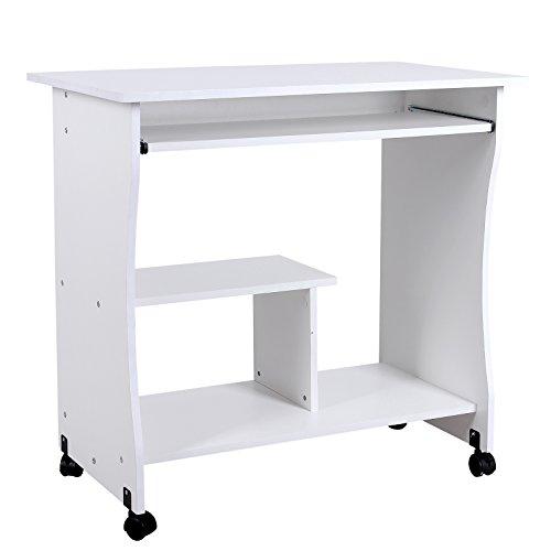 Songmics-Computertisch-mit-Tastaturauszug-3-Regale-4-Kunststoffrollen-80-x-48-x-76-cm-PC-Tisch-fr-Ihren-Arbeitsplatz-zu-Hause-oder-im-Bro-wei-LCD858W
