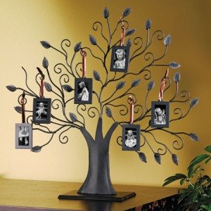 Bronze Family Tree Picture Frame with 6 Hanging Picture Frames