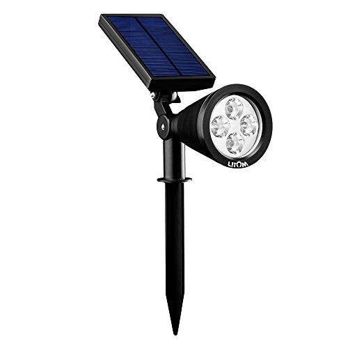 Litom Lampada Luce Solare Faretto da Esterno 4 Colore LED Colorato Impermeabile IP65 per Giardino, Prato, Cortile