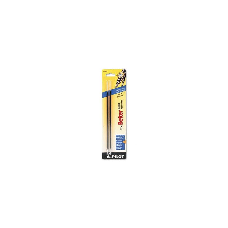 Refills for Pilot Nonretractable Ballpoint Pens   Non retract Better/BetterGrip/EasyTouch Ballpoint, Med, Blue, 2/pk(sold in packs of 3)